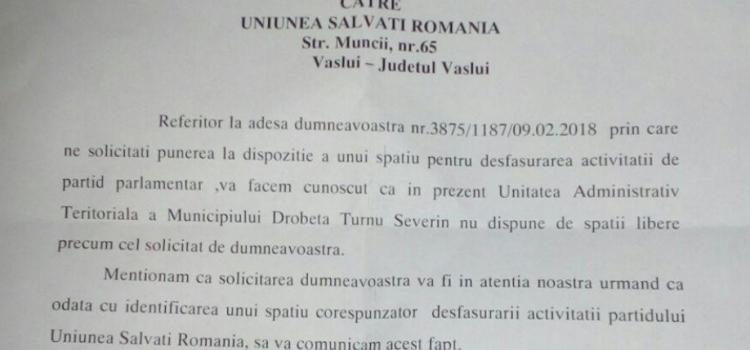 Primăria Drobeta Turnu Severin respinge solicitarea de alocare a unui sediu pentru USR Mehedinți
